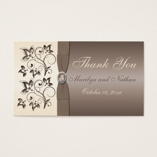 Mocha and Ivory Floral Wedding Favour Tag