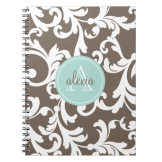Mocha and Mint Monogrammed Damask Print Notebooks