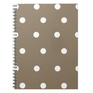 Mocha and White Polka Dot Spiral Notebook