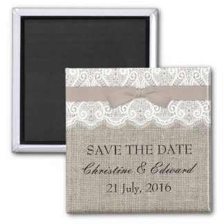 Mocha Bow and Lace Save The Date Magnet