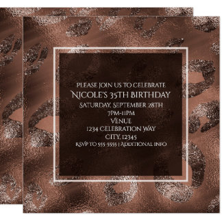 Mocha Bronze Leopard Print Party Invitation