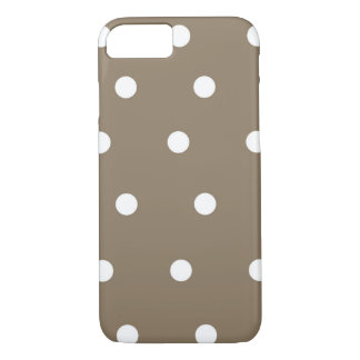 Mocha brown and White Polka Dot Phone Case