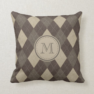 Mocha Chocca Brown Argyle Pattern with Monogram Cushion