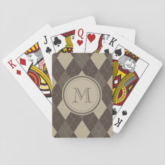 Mocha Chocca Brown Argyle with Monogram Playing Cards