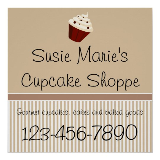 Mocha Cupcake Shoppe Sign or Advertisement Poster