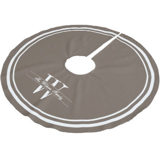 Mocha Double Border Monogram Brushed Polyester Tree Skirt
