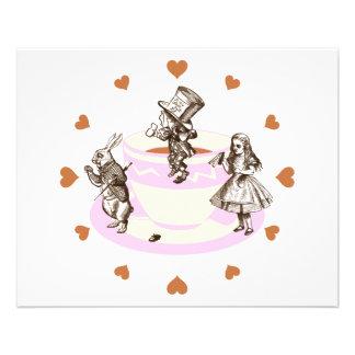 Mocha Hearts Around a Mad Tea Party 11.5 Cm X 14 Cm Flyer