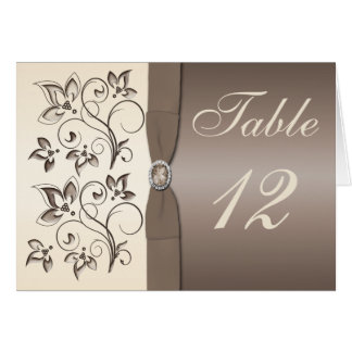 Mocha Ivory Floral Table Number Card