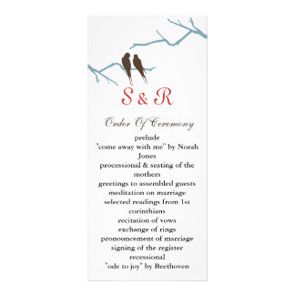 mocha lovebirds Wedding program Rack Card Design