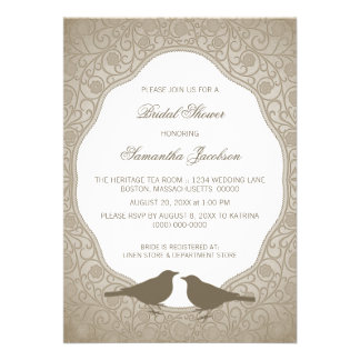 Mocha Nouveau Floral Frame Bridal Shower Invite