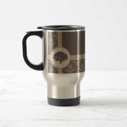 Mocha Oak Damask Travel Mug