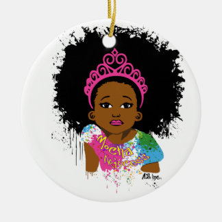 Mocha Princess Round Ceramic Decoration