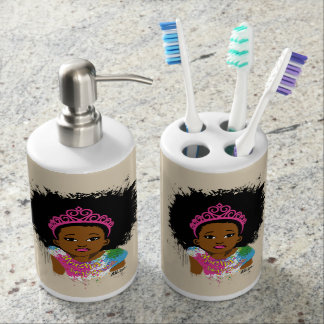 Mocha Princess Soap Dispenser And Toothbrush Holder