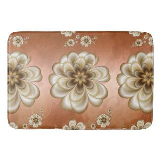 Mocha Rose Marble Sepia Floral Bath Mats