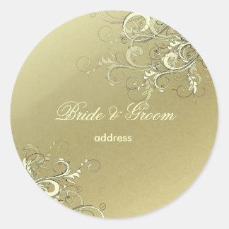 Mocha vanilla swirls wedding stickers