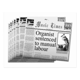 mock newspaper postcard UK spelling