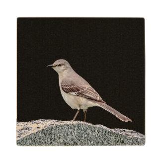 Mockingbird on a tombstone wood coaster