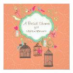 "Mod Bird Cage Mason Jar Heart Floral Bridal Shower 5.25"" Square Invitation Card"