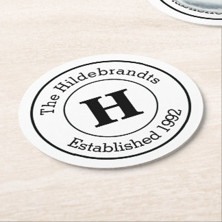 Mod Black and White Custom Monogram Family Round Paper Coaster