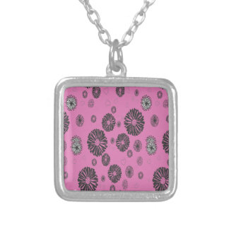 Mod Black and White Graphic Flowers On Pink Silver Plated Necklace