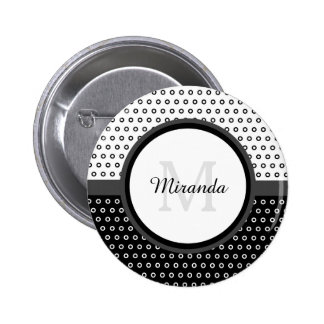 Mod Black and White Polka Dots Monogram With Name 6 Cm Round Badge