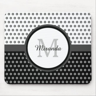 Mod Black and White Polka Dots Monogram With Name Mousepads