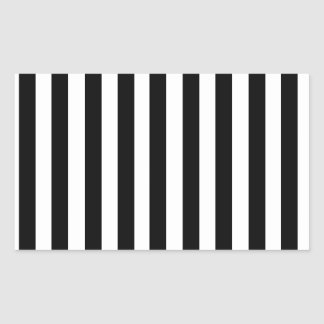 Mod Black and White Stripes Pattern Rectangular Sticker