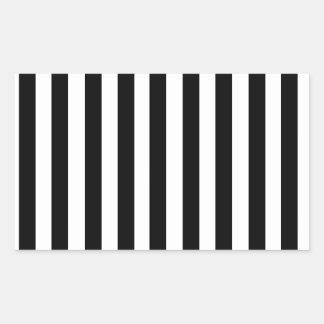 Mod Black and White Stripes Pattern Rectangular Sticker