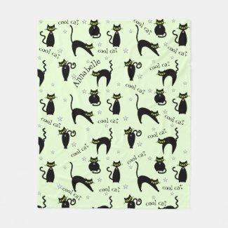 Mod Black Cats Fleece Blanket