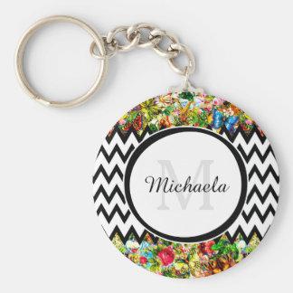 Mod Black Chevron Vintage Floral Monogram and Name Basic Round Button Keychain