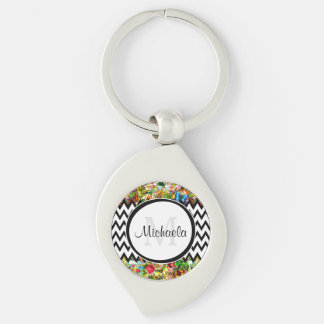 Mod Black Chevron Vintage Floral Monogram and Name Silver-Colored Swirl Keychain