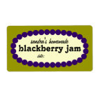 Mod Blackberry Jam Home Canning Jar Label