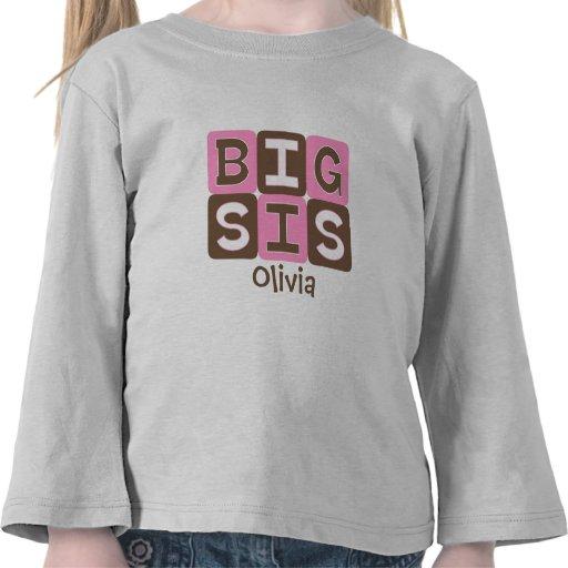 MOD Blocks Big Sis - Pink & Brown Personalized T Shirts