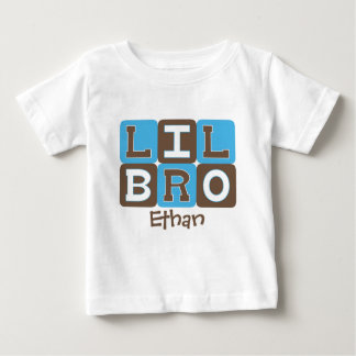 MOD Blocks Lil Bro - Blue & Brown Personalized Baby T-Shirt