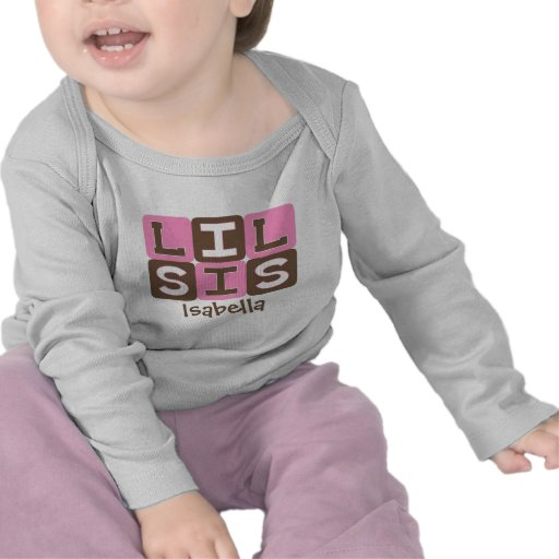 MOD Blocks Lil Sis - Pink & Brown Personalized T-shirts