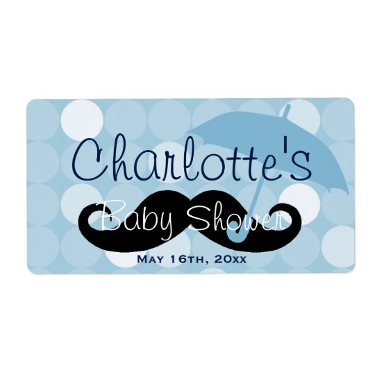 Mod Blue Dot Moustache Baby Shower Water Bottle Shipping Label