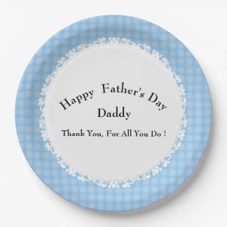 Mod-Blue-Dots-Father's-Day-Celebration-Template 9 Inch Paper Plate