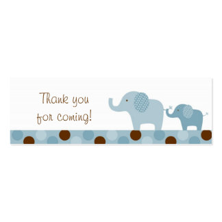 Mod Blue Elephant Party Favor Gift Tags Pack Of Skinny Business Cards
