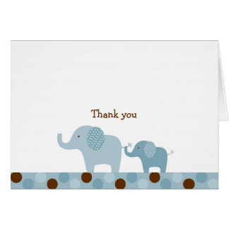 Mod Blue Elephant Thank You Note Cards