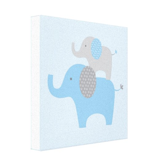 Mod Blue Grey Elephant Canvas Nursery Wall Art