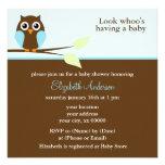 Mod Blue Owl Baby Shower Invitations