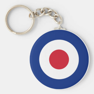 MOD Blue Red and White Basic Round Button Key Ring