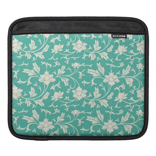 Mod Bold Turquoise flowers Floral iPad 2 Sleeve Sleeve For iPads