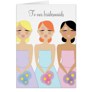 mod bridesmaid wedding THANK YOU card 2