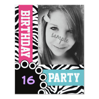 Mod Bright Zebra Print Birthday Party with Photo 4.25x5.5 Paper Invitation Card