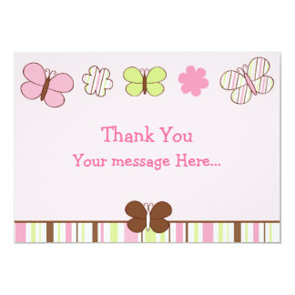 Mod Butterfly Stripes Flat Thank You Cards