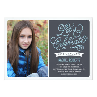 "Mod Celebration Graduation Invitation - Blue 5"" X 7"" Invitation Card"
