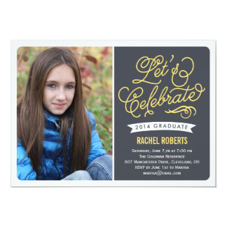 "Mod Celebration Graduation Invitation - Yellow 5"" X 7"" Invitation Card"