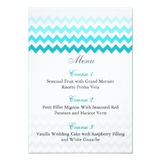 Mod chevron aqua Ombre wedding menu cards 13 Cm X 18 Cm Invitation Card