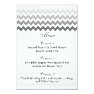Mod chevron gray  Ombre wedding menu cards 13 Cm X 18 Cm Invitation Card